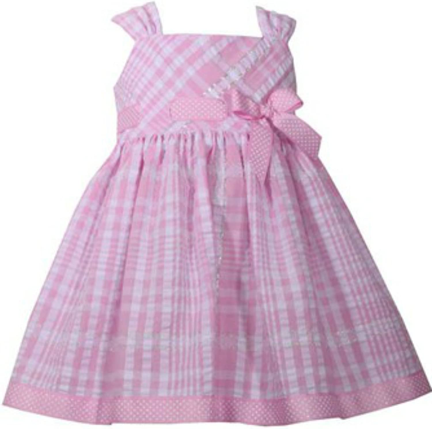 Bonnie Jean Pink and Metallic Seersucker A-Line Dress and Bloomer