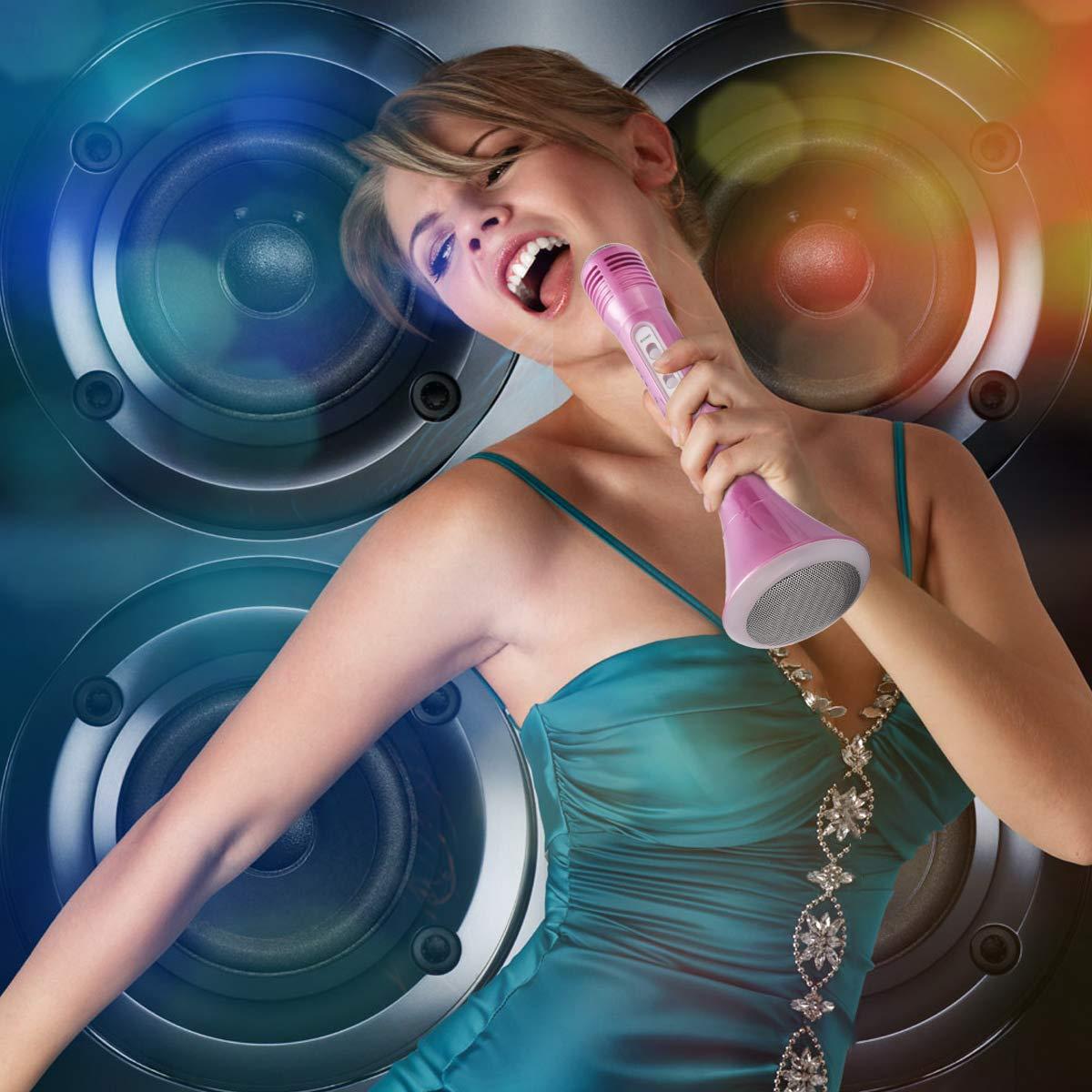 Micro Bluetooth Microphone Portable avec Haut-parleur Bluetooth et Lumi/ères LED pour la Maison KTV Compatible avec Les Tablettes Smartphone Rose LAOYE Microphone de Karaok/é sans Fil Pour Enfants