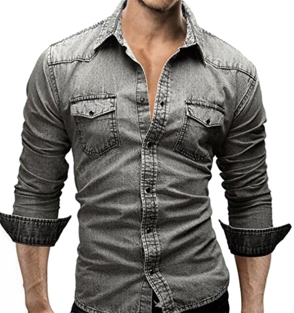 8409b1b8d6 Mens Snap Button Denim Shirt - BCD Tofu House