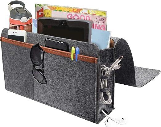Dark Gray Bedside Storage Organizer iwoxs Bedside Caddy Sofa Table Cabinet Bed Felt Holder Bag for Magazine Book Remote Tablet Phone