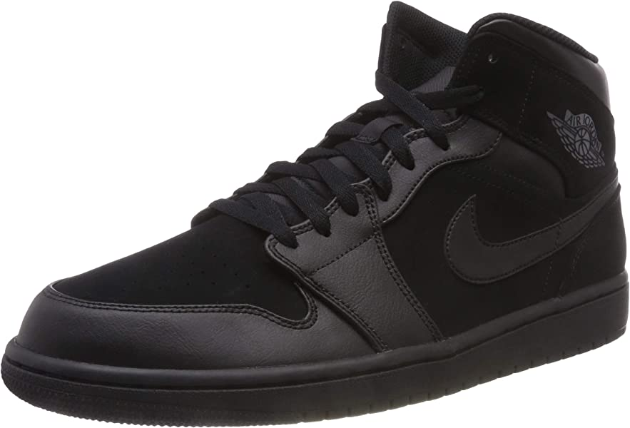 31324f31782 Nike Mens Air Jordan Retro 1 Mid Basketball Shoes Black/Dark Grey/Black  554724
