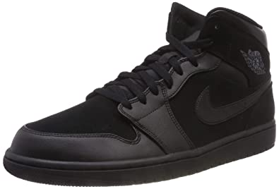 7252fe103aaf6 Nike Mens Air Jordan Retro 1 Mid Basketball Shoes Black Dark Grey Black  554724