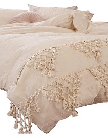 5ca32e3f63a0dc Flber Tufted Tassel Duvet Cover Lattice Boho Bedding