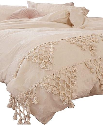 6e4c686e4c58 Amazon.com: Flber Tufted Tassel Duvet Cover Lattice Boho Bedding,Full  Queen, 86inx90in: Home & Kitchen