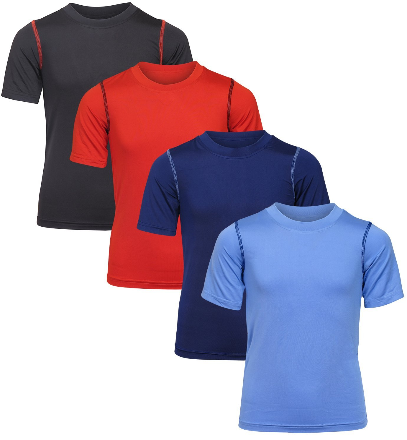 Black Bear Boy's Performance Dry-Fit T-Shirts (4 Pack) Light Blue/Navy/Black/Red, Large/12-14'
