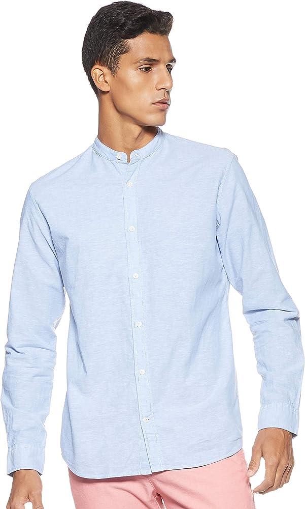 Jack & Jones Jjesummer Band Shirt L/s Noos Camisa, Azul (Infinity Fit: Slim Fit), X-Small para Hombre: Amazon.es: Ropa y accesorios