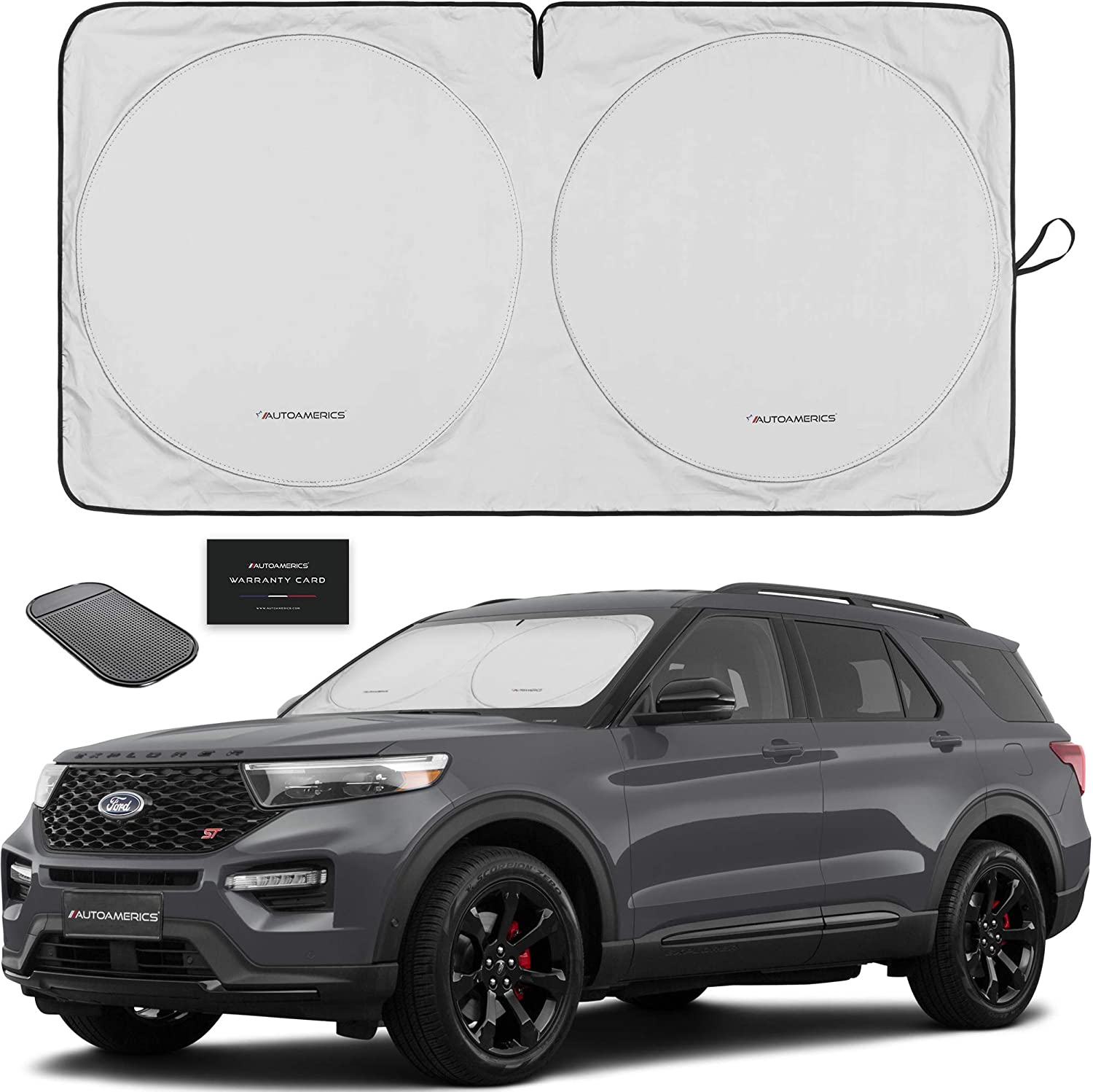 Autoamerics 1-Piece Windshield Sun Shade Foldable Car Front Window Sunshade for Most Sedans SUV Truck - Best Auto Heat Shield Reflector Cover - Blocks Max UV Rays and Keeps Your Vehicle Cool - Medium