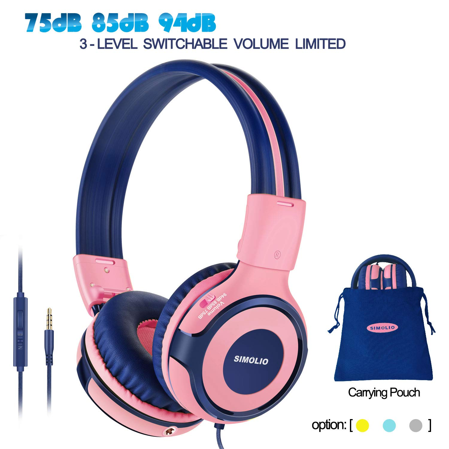 Auriculares SIMOLIO Niños con 94dB 85dB 75dB Volume Limited & Share Jack para Girls con Mic Durable Children con Safe Vo
