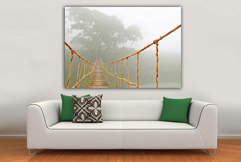 Cuadro Lienzo Viaje por la Jungla – Puente Colgante - Lienzo de Tela Bastidor de Madera de 3 cm - Fabricado en España - Impresión en Alta resolución – 100x140