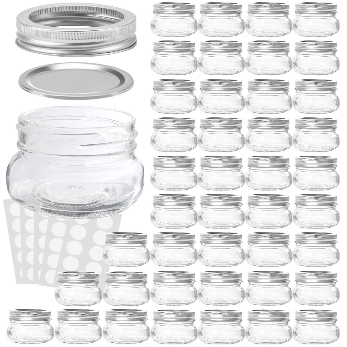 KAMOTA Mason Jars 4OZ With Regular Lids and Bands, Ideal for Jam, Honey, Wedding Favors, Shower Favors, Baby Foods, DIY Magnetic Spice Jars, 42 PACK, 50 Whiteboard Labels Included