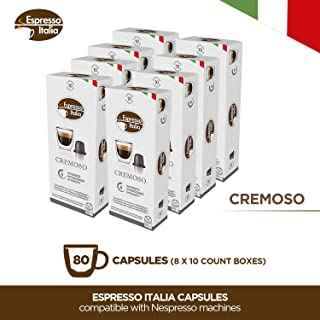 Espresso Italia Coffee Pods - CREMOSO Capsules Compatible with Nespresso Original Line Machines - Intensity 9/12 Fresh Roast Gourmet Beans - Strong Flavor and Aroma - Recyclable Capsule Covers - 80 ct