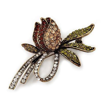 Avalaya Vintage Burn Gold Crystal Rose Brooch (Clear, Citrine, Olive & Amber Colour)