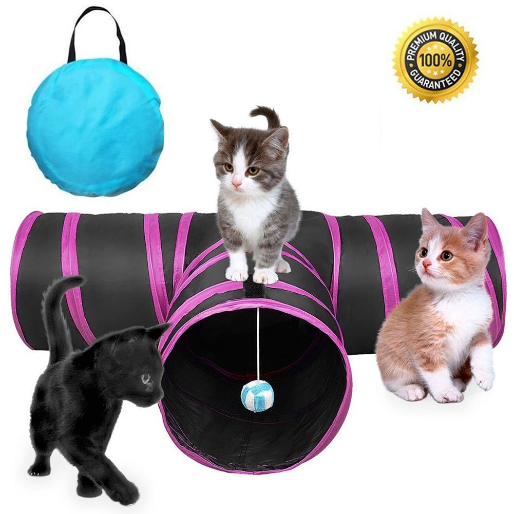 GXL Cat Tunnel Toy, Collapsible 3 Way Pet Play Tunnel Tube Storage Bag Catnip, Used In the Cat Family, Dogs, Rabbits, Indoor/Outdoor Use