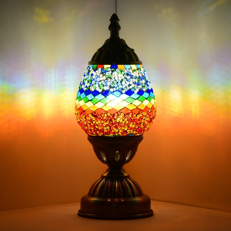 Handmade Turkish moroccan table de chevet bureau Bleu Mosaïque Lampe Avec Ampoule DEL Bon état