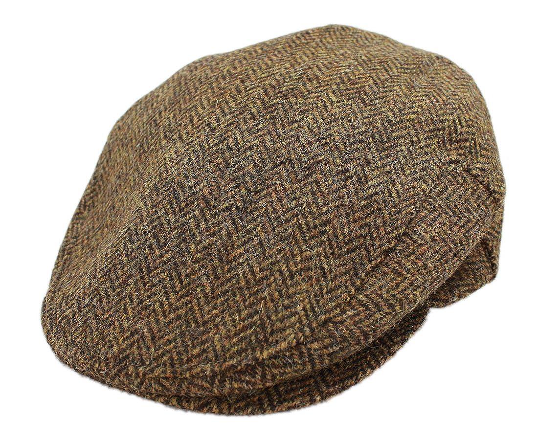 534a173b963 John Hanly Mens Flat Cap Brown Herringbone 100% Wool Made in Ireland at  Amazon Men s Clothing store