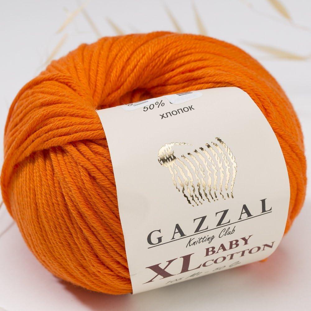 225m Gazzal Baby Cotton XL Total 5.28 Oz//344 Yrds Super Soft 50/% Turkish Cotton Ball 3 Pack Orange Each Ball 1.76 Oz 50g 3419 DK- Worsted Baby Yarn //246 Yrds