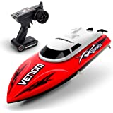 Remote Control Boat for Pools and Lakes – UDI001 Venom Fast RC Boat for Kids and Adults, Self Righting Remote Controlled Boat w/Extra Battery (Red)