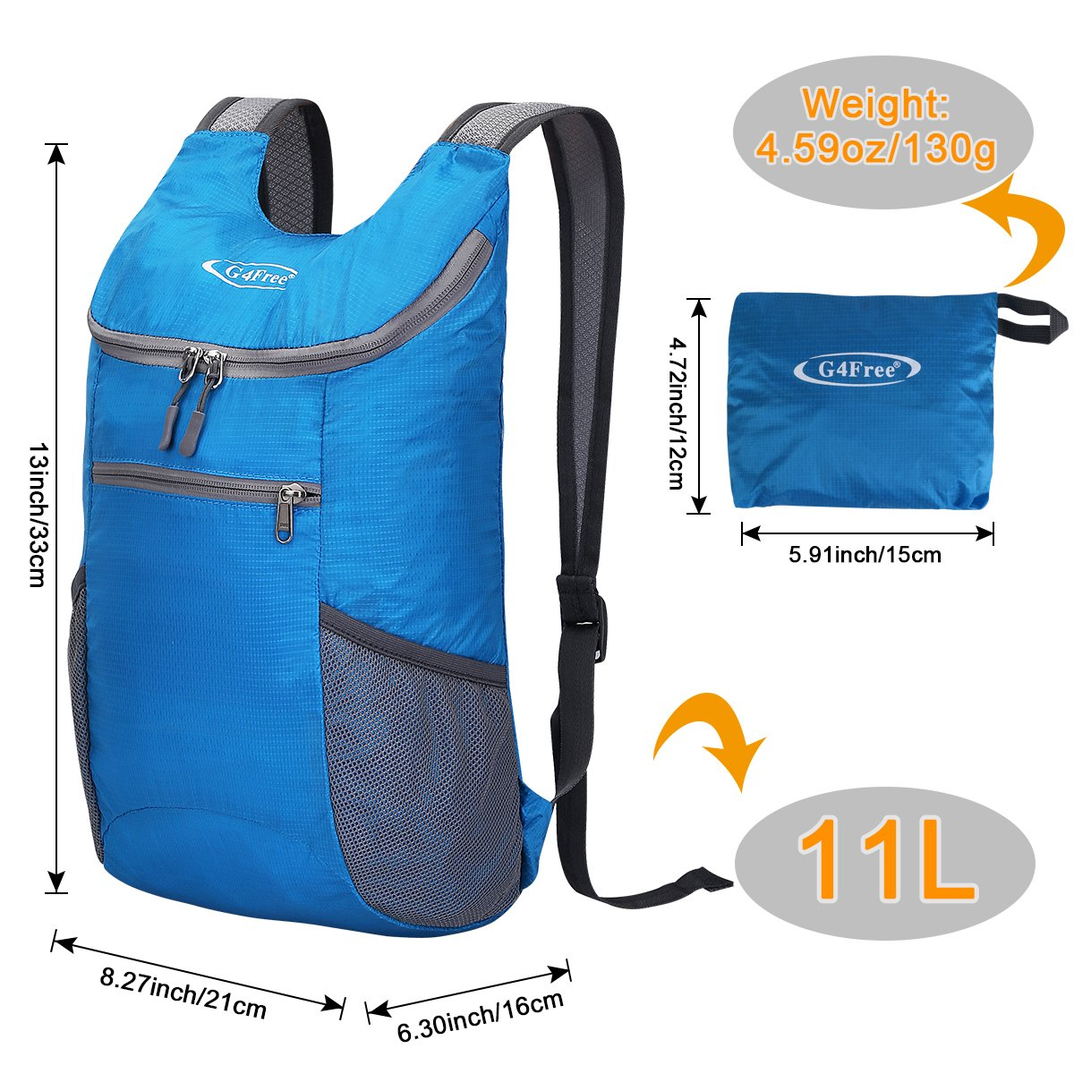 G4Free Lightweight Packable Shoulder Backpack Hiking Daypacks Small Casual Foldable Camping Outdoor Bag for Adults Kids 11L(Blue) by G4Free (Image #4)