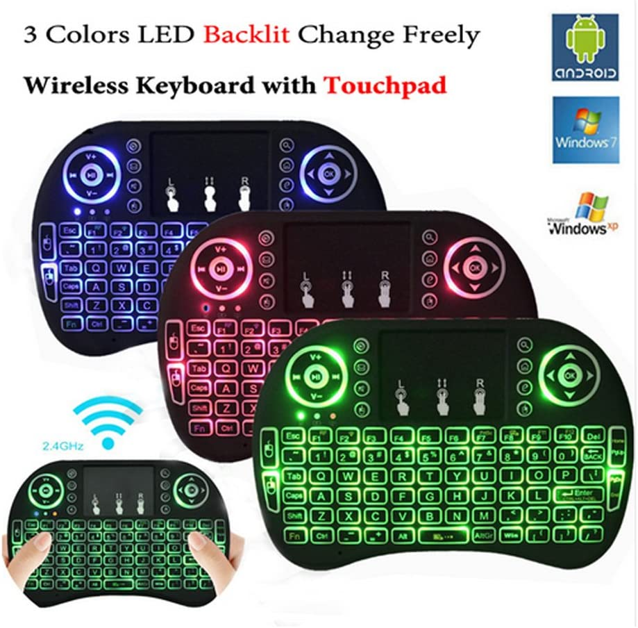 Backlit Wireless Mini Keyboard Air Mouse Touchpad for Samsung LG Smart TV Android Kodi TV Box PC by Mega1Comp Mac with Backlight