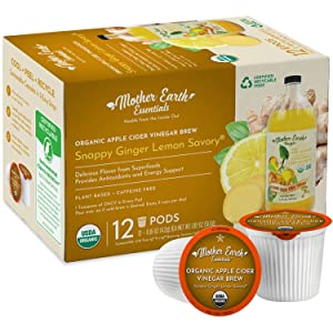 Mother Earth Essentials Superfood Tea SNAPPY GINGER LEMON SAVORY infused with Organic Apple Cider Vinegar with The Mother. Get your daily dose with fruit & herbs. Organic. (12 Single Serve Pods)