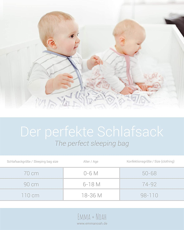 Pagliaccetto emma /& noah Sacco Nanna Neonato 100/% Cotone Tutina Neonato 1.0 Tog Ideale Come Sacco a Pelo per Bambini per Temperature 18-24/°C Sacco a Pelo Estivo