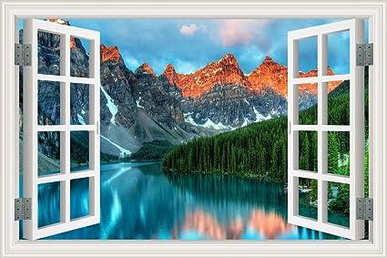Amazon Com Hlj Art Removable 3d Windows Landscape Wall Mural