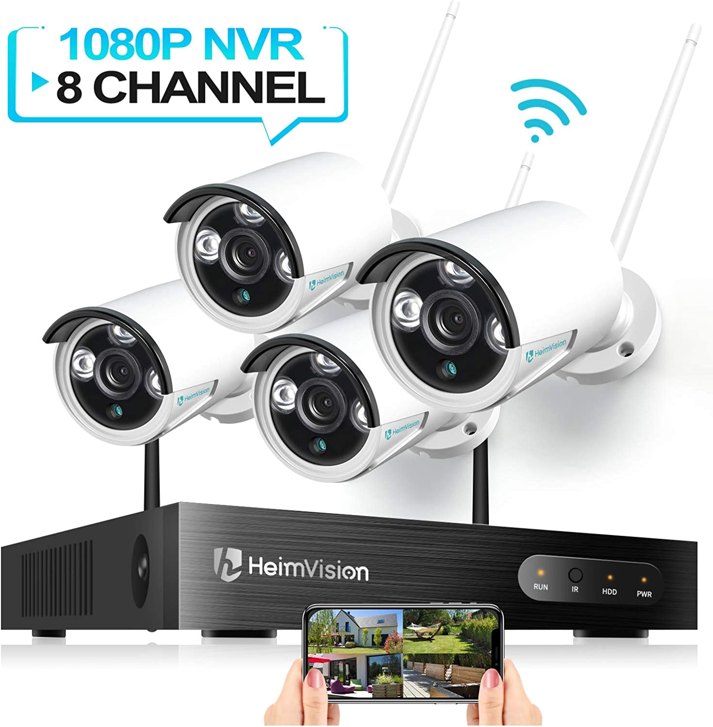 HeimVision HM241 WiFi Security Camera System, 8CH 1080P NVR 4Pcs 960P Outdoor Indoor WiFi Surveillance Cameras with Night Vision, Weatherproof, Motion Detection, Remote Monitoring, No Hard Drive