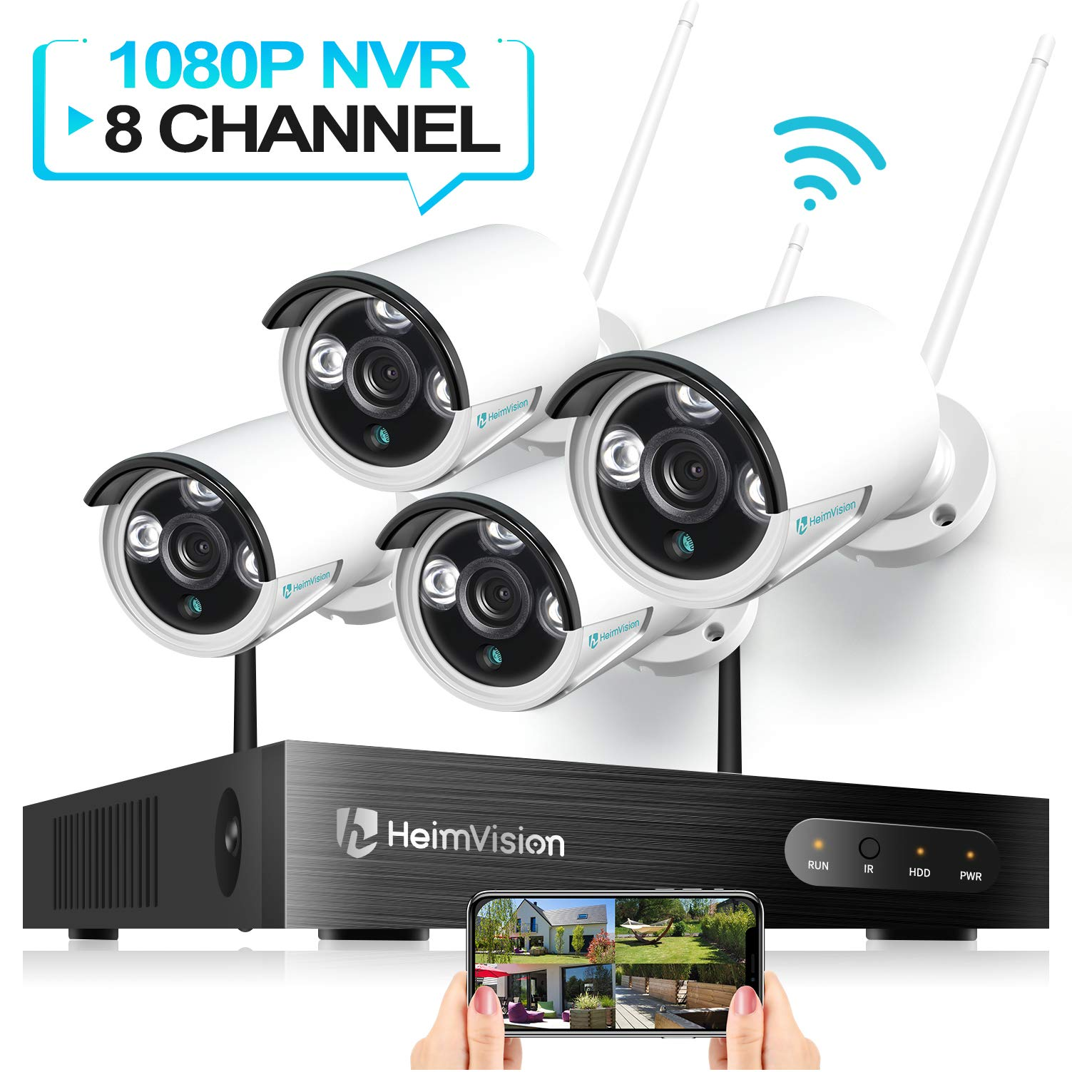 HeimVision HM241 WiFi Security Camera System, 8CH 1080P NVR 4Pcs 960P Outdoor/ Indoor WiFi Surveillance Cameras with Night Vision, Weatherproof, Motion Detection, Remote Monitoring, No Hard Drive by heimvision