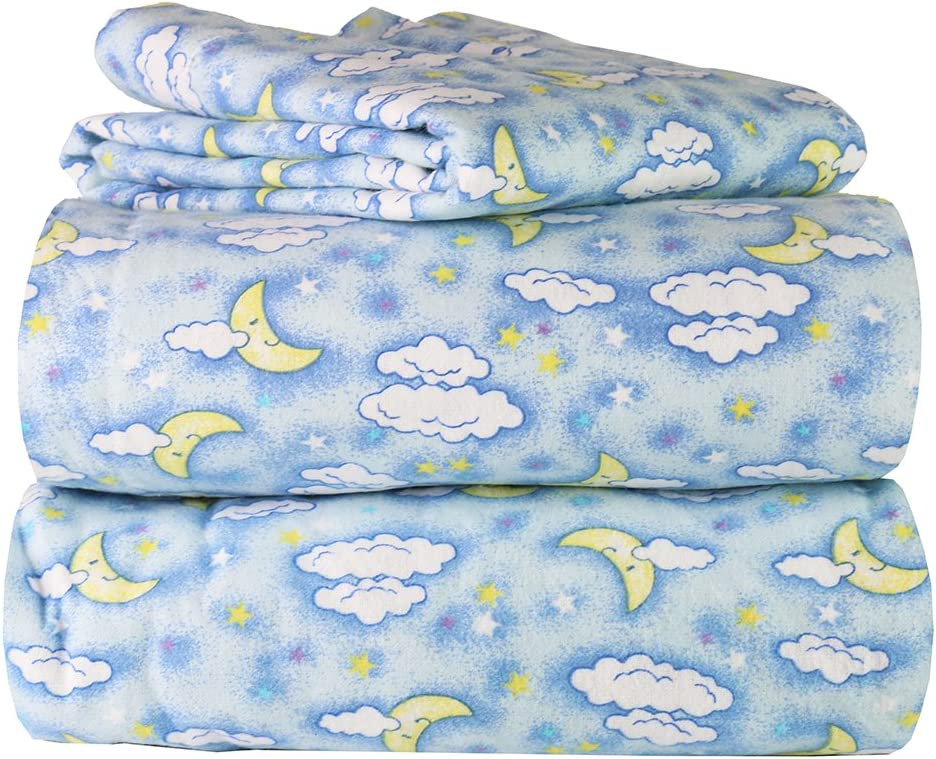 AM Home Fashion Piece 100% Soft Flannel Cotton Bed Sheet Set – Queen/King Size – Patterned Bedding Covers – 1 Flat Sheet, 1 Fitted Sheet, 2 Pillow Cases - Fade Resistant Designs, (Sweet Dreams, King)