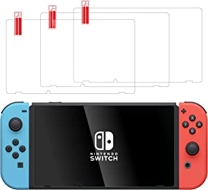 TalkWorks Tempered Glass for Nintendo Switch Screen Protector (3 Pack) Scratch, Crack Resistant, Easy-Install, Protective Ultra-Thin HD Touch Screen Cover Film Back