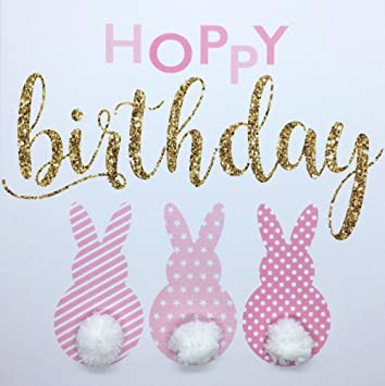 Hoppy Birthday Bunny Rabbit Card For Girl Hand Finished With Pompom