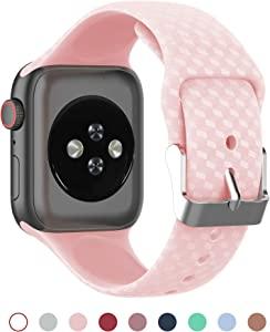 Otiko Compatible for Apple Watch band 38mm 40mm 42mm 44mm, Soft Silicone Replacement Wristband Strap for Men and Women, Compatible with series 1/ 2/ 3/ 4, iWatch Series 5 2019 (Sand Pink, 38/40 MM)