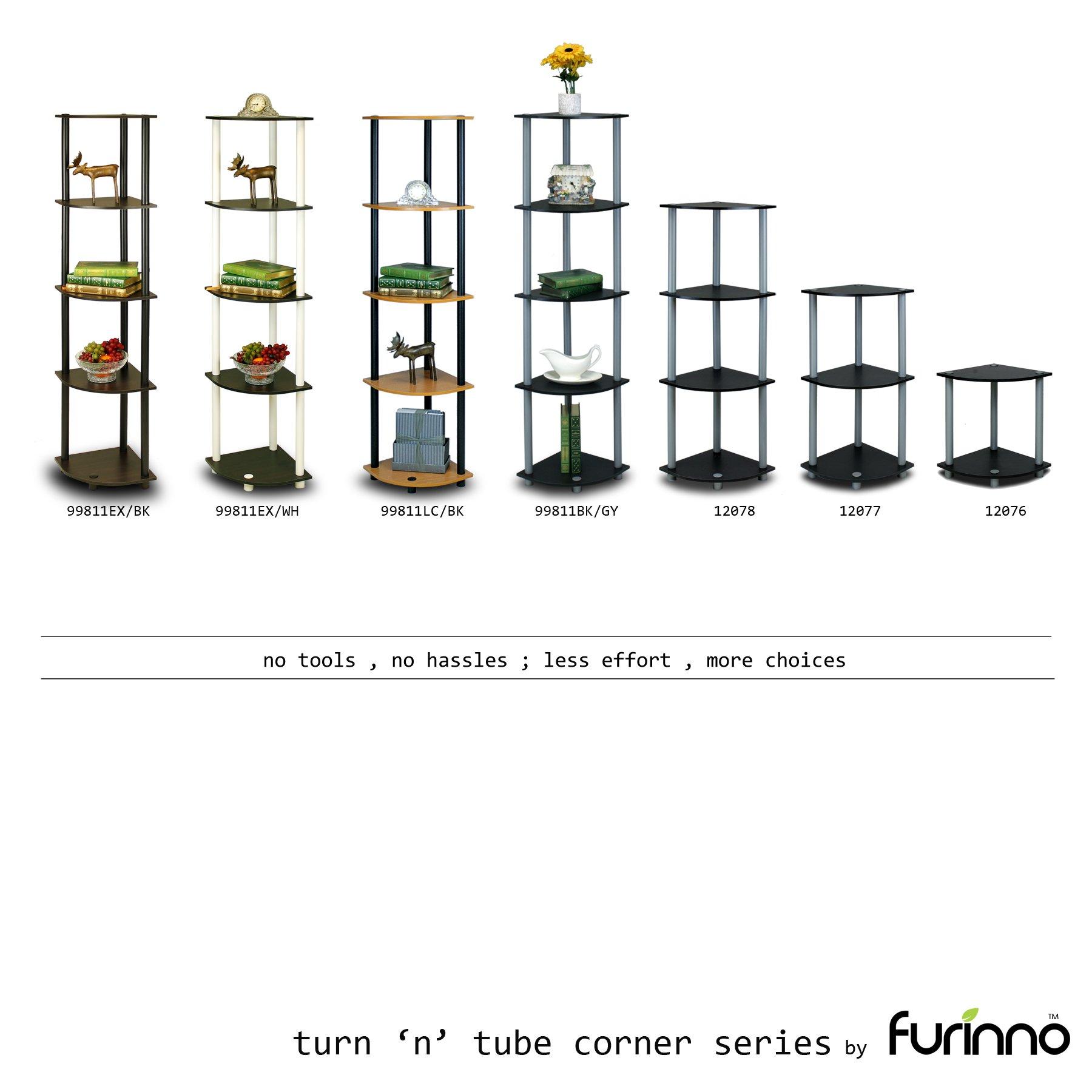 Furinno 99811DC/BK Turn-N-Tube 5 Tier Corner Shelf, Dark Cherry/Black
