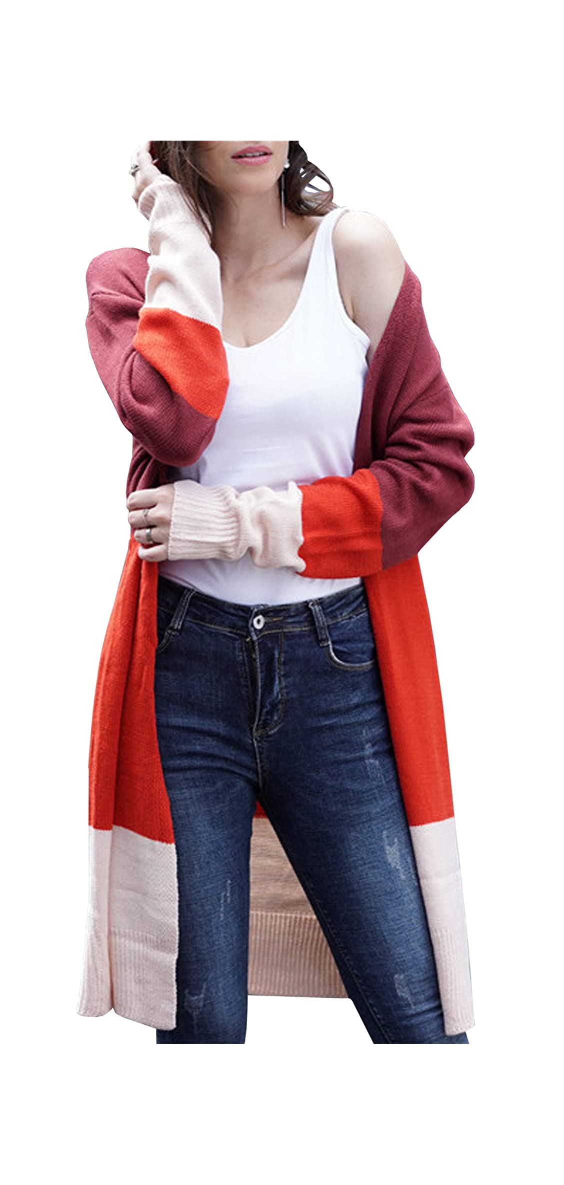 Womens Color Block Striped Draped Kimono Cardigan Long