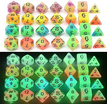 BBGoo Dados De rol Juego de Dados poliédricos Brillantes de Doble Color D4, D6, D8, D10, D10%, D12, D20 para MTG DND Juego de rol y Otros Juegos de Mesa: Amazon.es: Juguetes