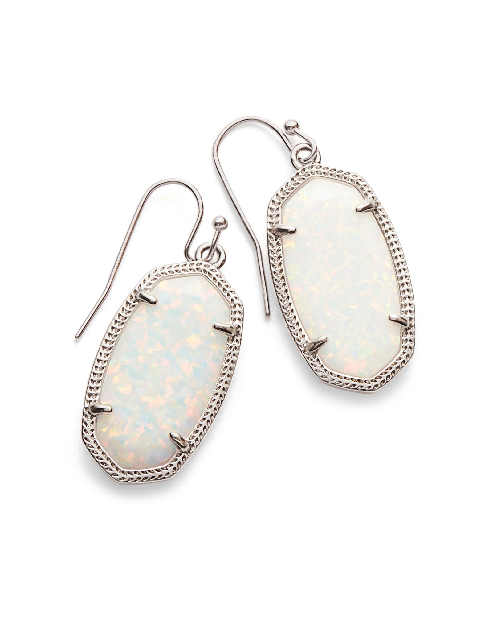 Kendra Scott Signature Dani Earrings in Rhodium Plated and White Kyocera Opal
