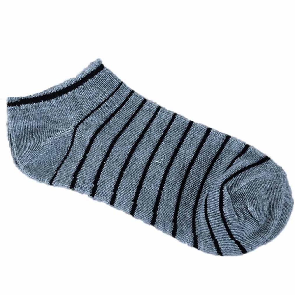 calcetines hombre invierno, Sannysis calcetines deportivos hombre Calcetín de algodón a rayas cómodo y unisex zapatillas Calcetines cortos de tobillo calcetines termicos mujer invierno running (Gris)