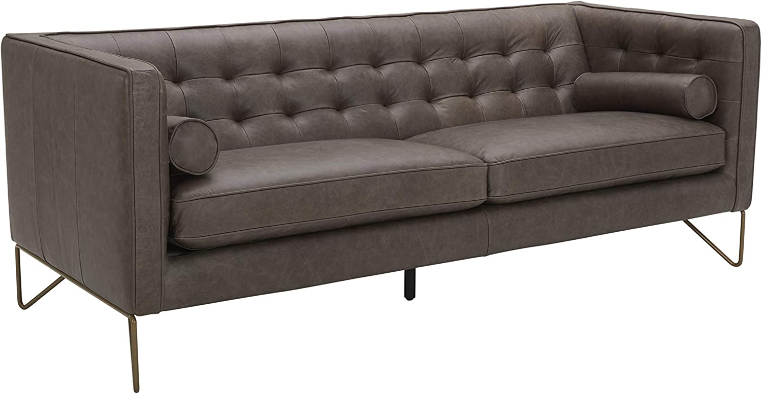 "Amazon Brand – Rivet Brooke Contemporary Mid-Century Modern Tufted Leather Sofa Couch, 82""W, Grey"