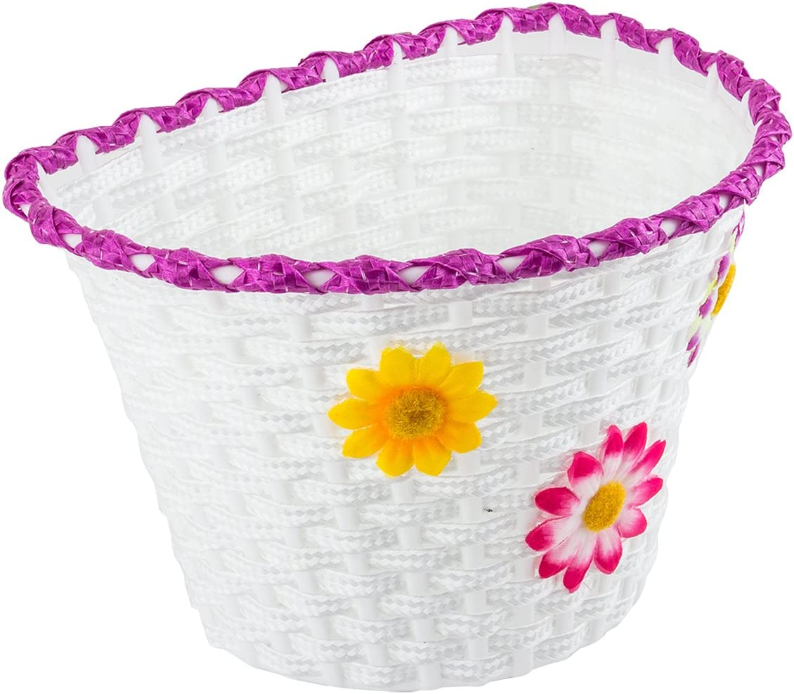 Sunlite Large Front Bicycle Basket 11 x 8 x 7.25 White With Flowers
