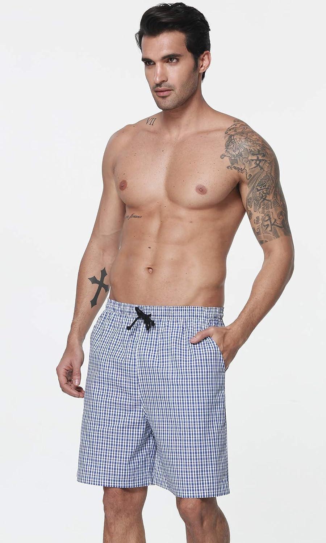 MoFiz Mens Cotton Pajama Bottoms Plaid Sleep Lounge Shorts Woven Sleepwear