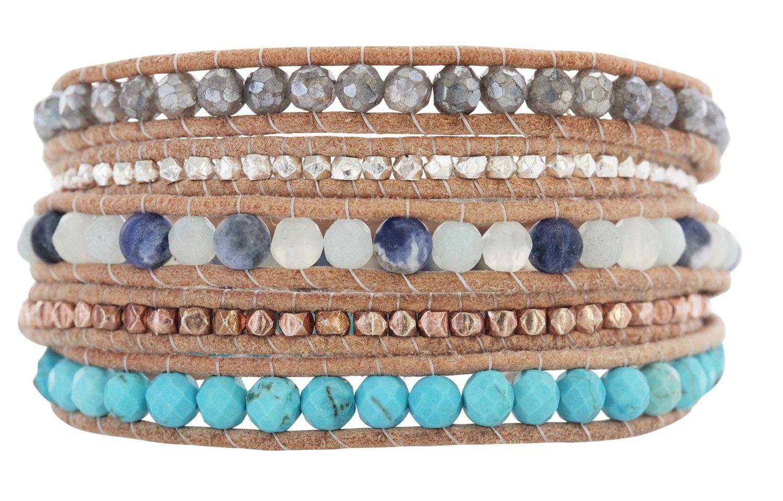 Chan Luu Blue Mix Beige Leather Wrap Bracelet BS-5286