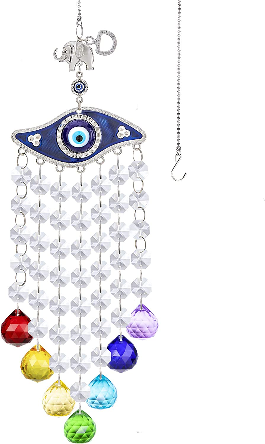 YU FENG Turkish Blue Evil Eye Elephant Decor Hanging Crystal Suncatcher Ornament with Chandelier Beads Chakra Crystal Ball Prisms Pendants