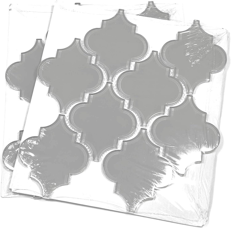 Giorbello Glass Arabesque Tile in Dark Teal 2 Sheets