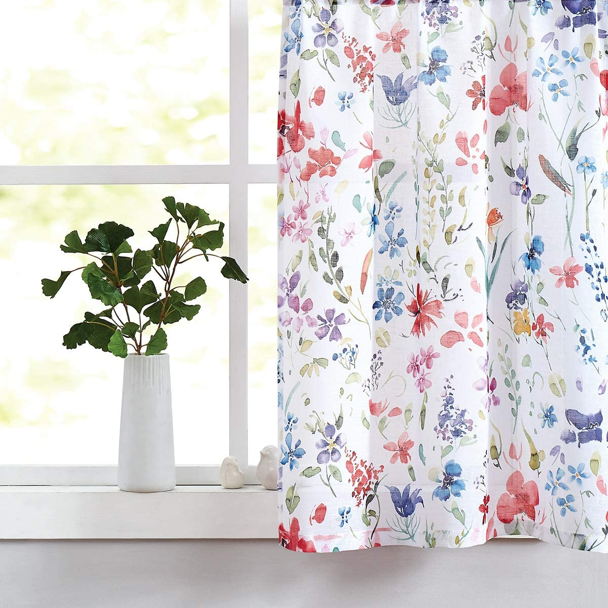 Fragrantex Printed Window Curtains 36 Sheer Caf Tier Curtains Linen Cotton Like Multi-Color Short Half Window Treatment Sets Curtain for Small Window, Bathroom 28 W x 36 L 2 Panels, Rod Pocket