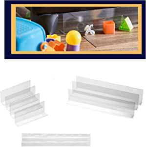 "T & R Design Clear Blocker for Furniture I Under Bed Blocker 7 Pack - Includes 3 PCs 16""L x 3.1""H and 4 PCs 8""L x 3.1""H with 3PCs Extra Adhesive I Safe Stopper Gap Filler for Pets, Toys, Kids"