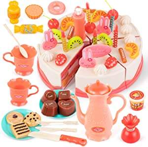 PETPLUS Pretend Play Food Toys for Kids, 62 PCS DIY Cutting Party Cake Toys Set, Early Educational Kitchen Toy for Girls Children, Toddlers, Aged 3 4 5 6 Year Old, Pink
