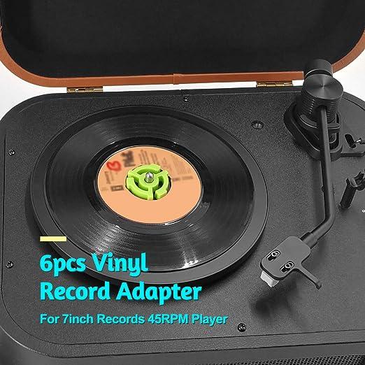 Bulufree Adaptador de disco de vinilo de 6 piezas para reproductor ...