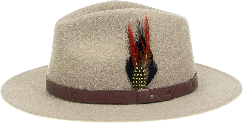 Fedora Chapeau panama classique en feutre de laine avec large bord et plume vintage pour homme et femme