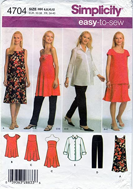 4e7a4b847b7bc Amazon.com: Simplicity Easy to Sew Maternity Shirt and Knit Dress or ...