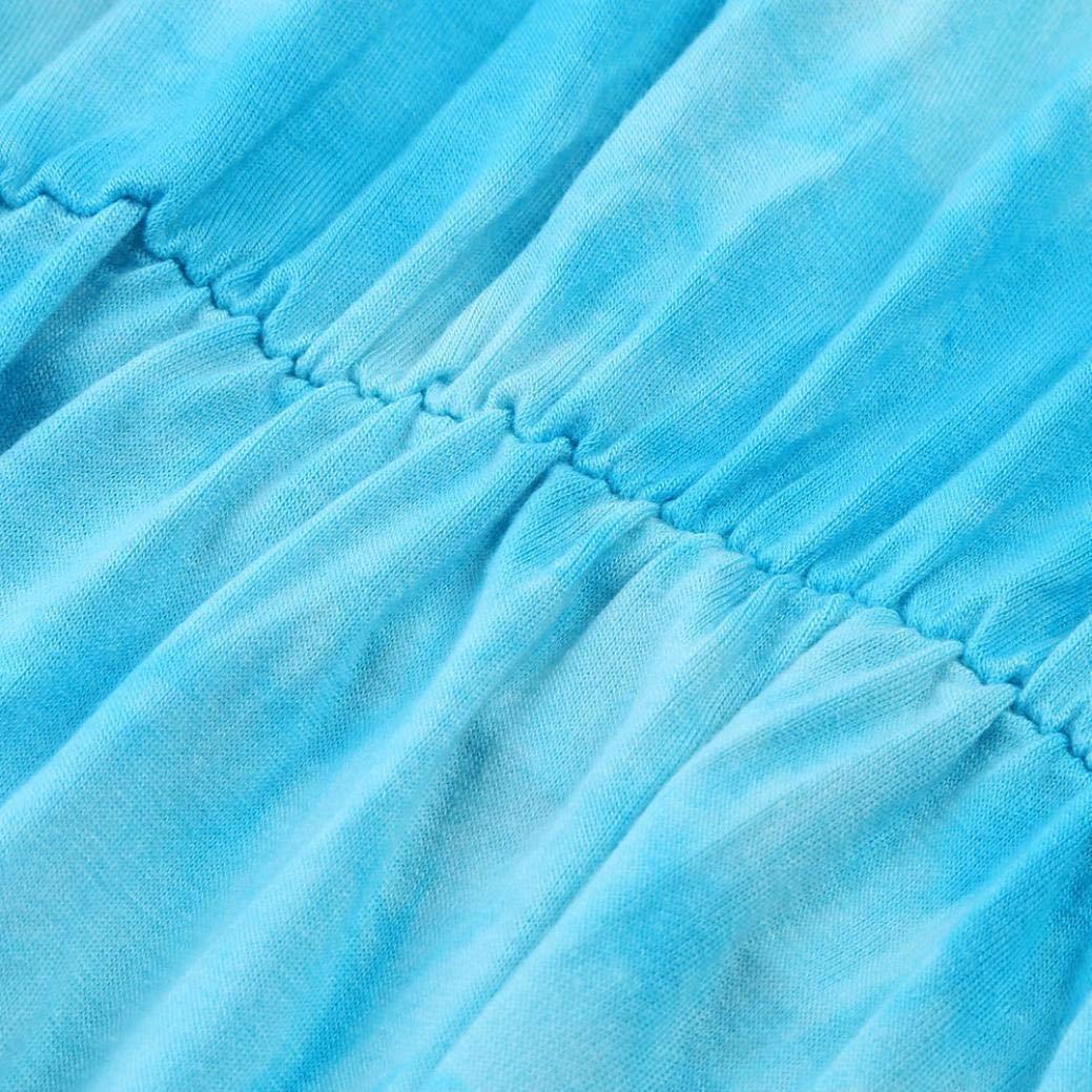 Tsmile Women Blouse Clearance Fashion V-Neck Tie-Dye Print Long Sleeve Tops Pleated Waist Line Tunic Shirt by Tsmile (Image #5)